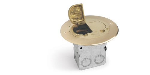 Lew Electric 612-RSS-2 Round Floor Box w/ 15A Two Power Outlet - Dual Hinge  Brass