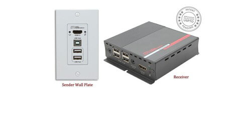 Hall Research EX-HDU HDMI and USB Extender Kit over Cat6 - Audio,  Integrated Control, IP