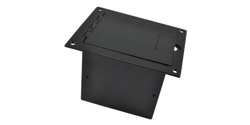 Fsr Fl 1200 Blk Small Stage Floor Box With Hinged Door In