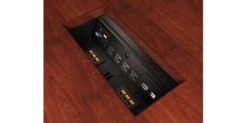 ECA Interface I UT Table Trough W Exposed Edge Power HDMI VGA - Conference table power module with hdmi
