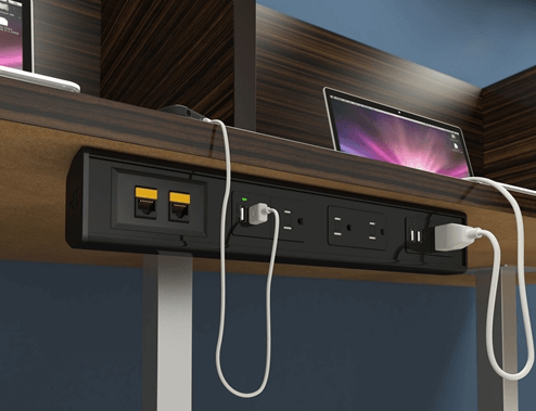 Eca seclusion ut under table mounted box w 4 power 4 charging usb gloss black shopping table boxes greentooth Gallery