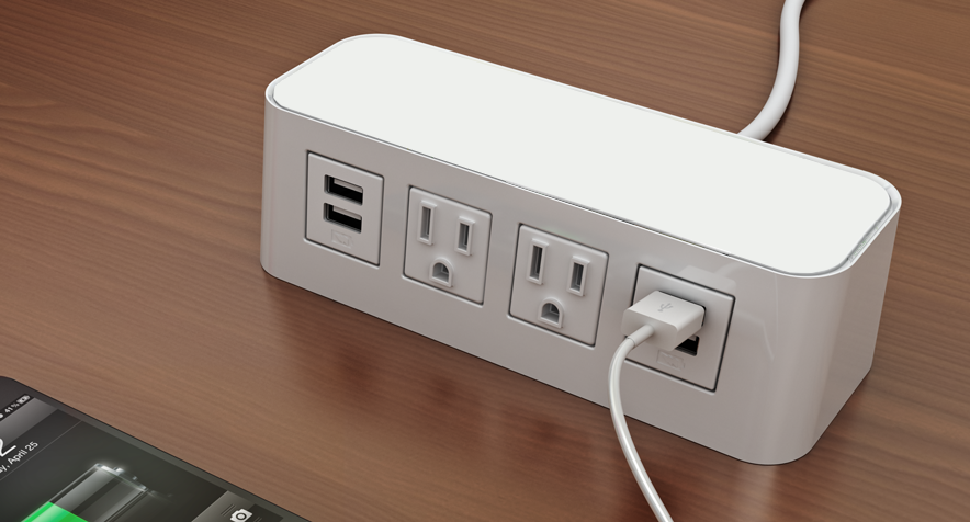 Byrne Burele Power And USB Table Charging Station Conference - Conference table power supply