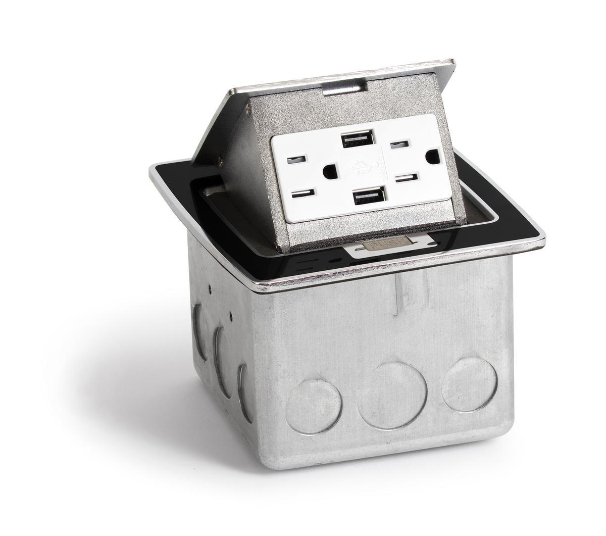 Lew Electric PUFP-CT-BK-2USB Countertop Pop Up Box w/ 2 USB & 2 Power ...