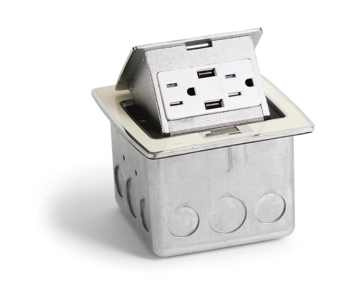 Lew Electric PUFP-CT-OW-2USB Countertop Pop Up Box w/ 2 USB & 2 Power ...