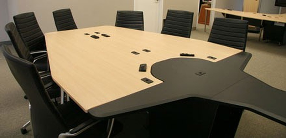 Avf vc table c video conferencing table w rack sits 7 to for 12 person conference table