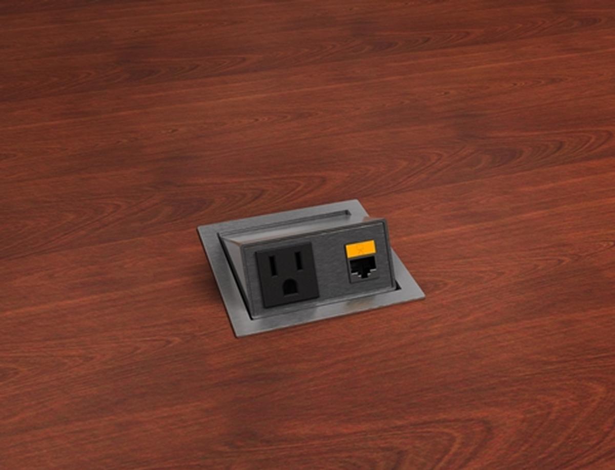 Eca Top Notch2 Cat6 Flip Up 1 Power And 1 Cat6 Table Box