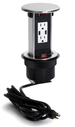 Lew Electric PUR15-S Spill Proof Countertop 2 Power & USB Charging Pop Up, Stainless Steel